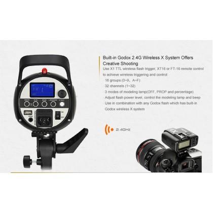 Professional Full Size Studio Start Up Kit (Godox SK400II 400w 3 Light With 3 Color Backdrop) With Camfi Wireless Photo Transfer