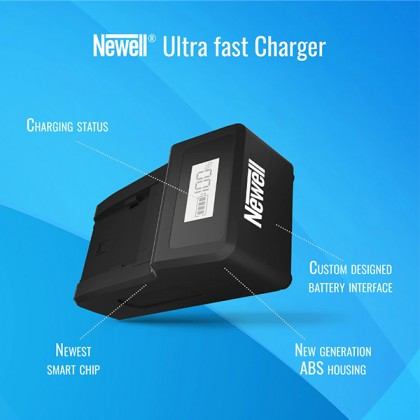 Newell Ultra Fast NP-F charger With LCD 1600mA Charging Faster Maximum Battery Life