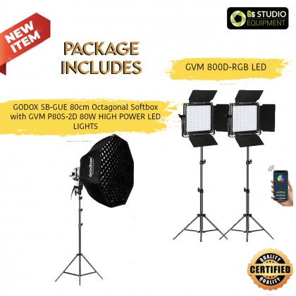 GVM 800D RGB LED 2 LIGHT PANEL KIT AND LS-P80S LED LIGHT WITH GODOX 80cm SB-GUE OCTABOX WITH GREEN MUSLIN AND STAND