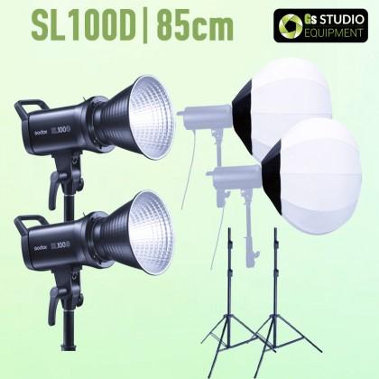 GODOX SL100D LED 2 LIGHT KIT WITH GS LANTERN 85CM SOFTBOX + 2.6M AIR CUSHIONED LIGHT STAND COMBO