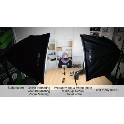 GS LitBox Continous Lighting Softbox LED Kit 50w Adjustable Color 3200-5500K with Wireless Remote Control, Malaysia Plug 2 Light Kit