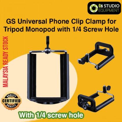 GS Universal Phone Clip Clamp Murah untuk Tripod Monopod Selfie Youtube Tiktok Tripod Phone Mount Fon Klip 1/4 Screw Hole