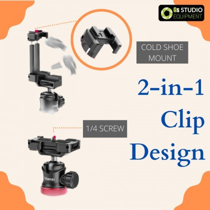 Ulanzi MT-44 Extended Tripod Outdoor Mini Portable Phone Tripod with Cold Shoe Phone Holder for Smartphone/ DSLR