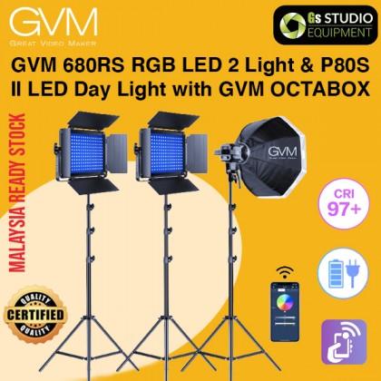 GVM 680RS RGB LED 2 Light Panel Kit and LS-P80S II LED Day Light with GVM OCTABOX 3 Point Light Kit