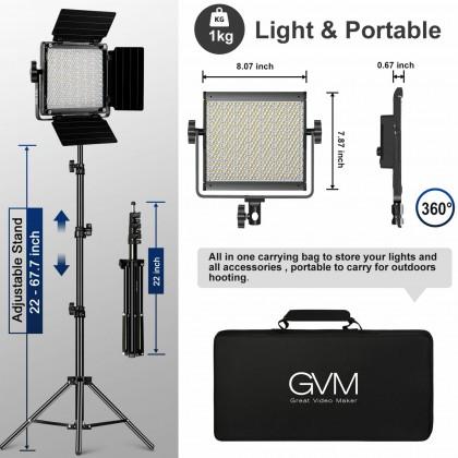 GVM 850D High Beam RGB Bi-Color Single Light High Power Video Light 18000 Lux 3200K-5600K