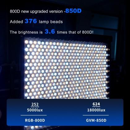 GVM 850D High Beam RGB Bi-Color 2 Light Kit High Power Video Light 18000 Lux 3200K-5600K