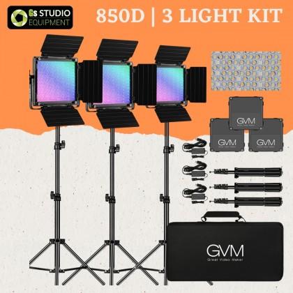 GVM 850D High Beam RGB Bi-Color 3 Light Kit High Power Video Light 18000 Lux 3200K-5600K