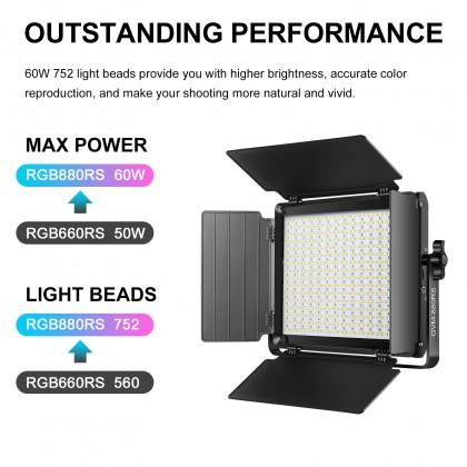 GVM 880RS 60W 3 LIGHT KIT RGB Bi-Color and High Power Video Light 752 Beads 3200K-5600K