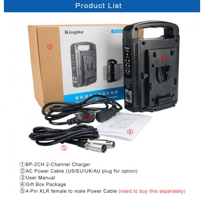 KingMa BP-2CH Dual Channel Battery Charger for Professional Broadcast V-Mount V Mount Li-ion Battery