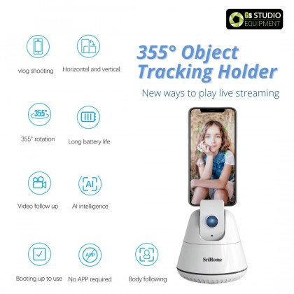 GS & SriHome 360 Object Tracking Personal Robot Cameraman Face Tracking PTZ for Smartphone Live