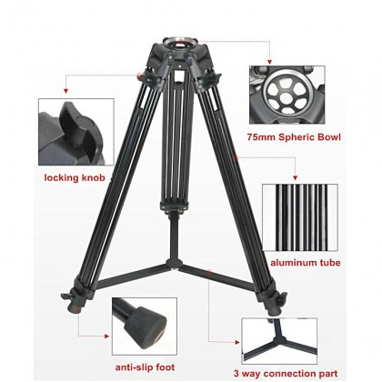 GS PT05 PROFESSIONAL VIDEOGRAPHY TRIPOD WITH FLUID VIDEO HEAD