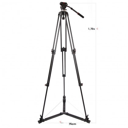JIEYANG JY0508AD PROFESSIONAL VIDEO TRIPOD WITH FLUID VIDEO HEAD & GROUND SPREADER
