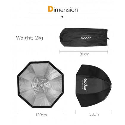 Godox SB-UE 120cm WITHOUT Grid Portable Octabox Octagonal Umbrella Softbox with Bowens Mount